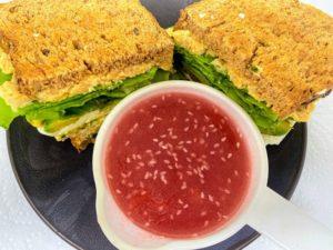 Chickpea Sandwich With Cranberry Vinegarette Sauce